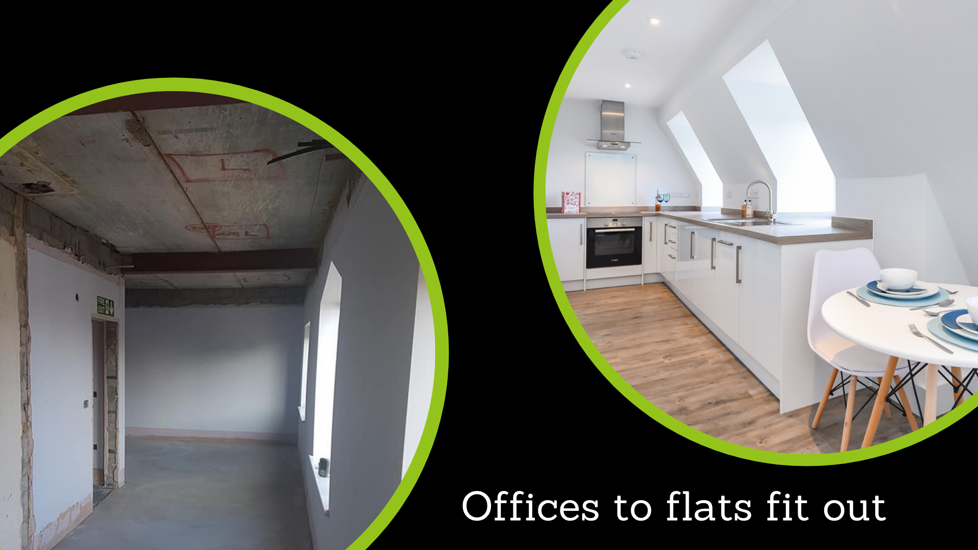 Photos of an office that Refurb converted to flats in a fit-out