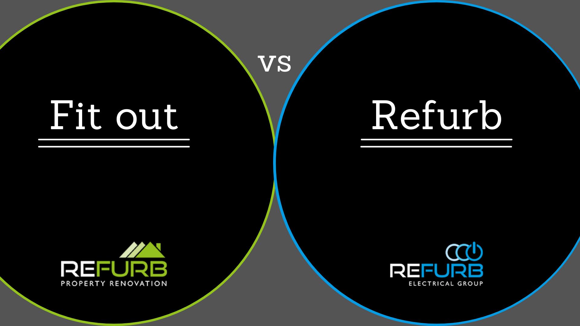 Fitout vs refurbishment displayed as a logo